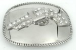 gun with stones on square silver belt buckle