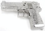 gun with stones cutout silver belt buckle
