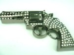 revolver with stones cutout gray belt buckle