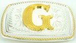 initial (g) small two tone belt buckle