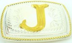 initial (j) small two tone belt buckle