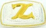 initial (z) small two tone belt buckle